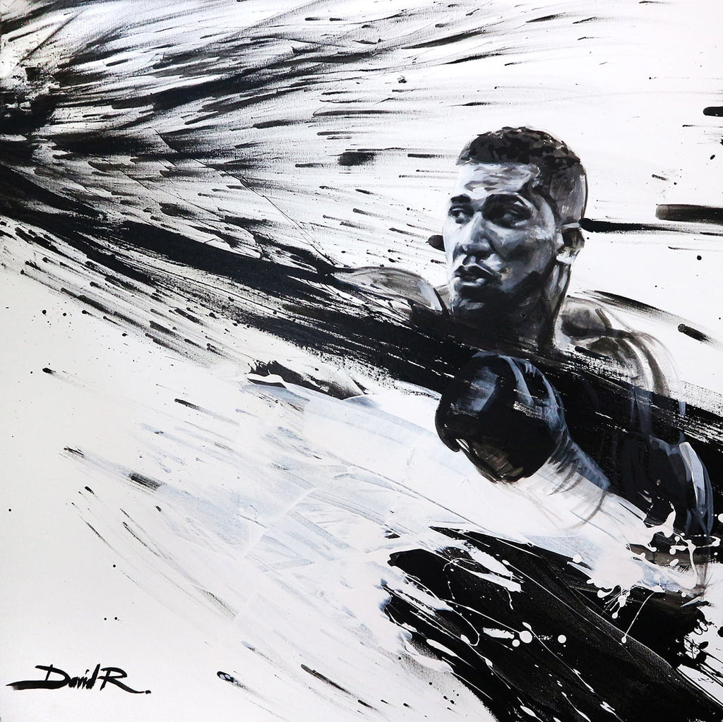 david roman art anthony Joshua painting black white contemporary artwork of the boxing champion ajbxng canvas