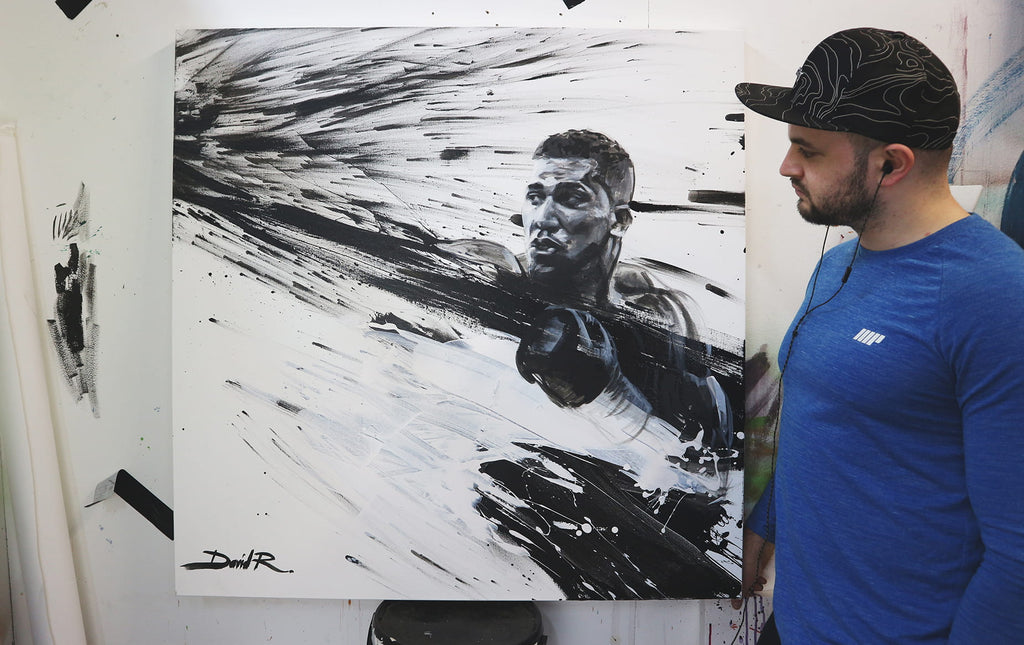 david roman art sports artist anthony Joshua painting black white contemporary artwork of the boxing champion ajbxng