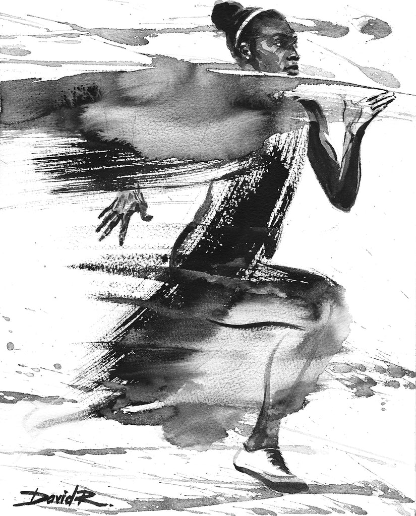 david roman art painting of olympic sprinter dina asher smith diamonds league champion sports athlete