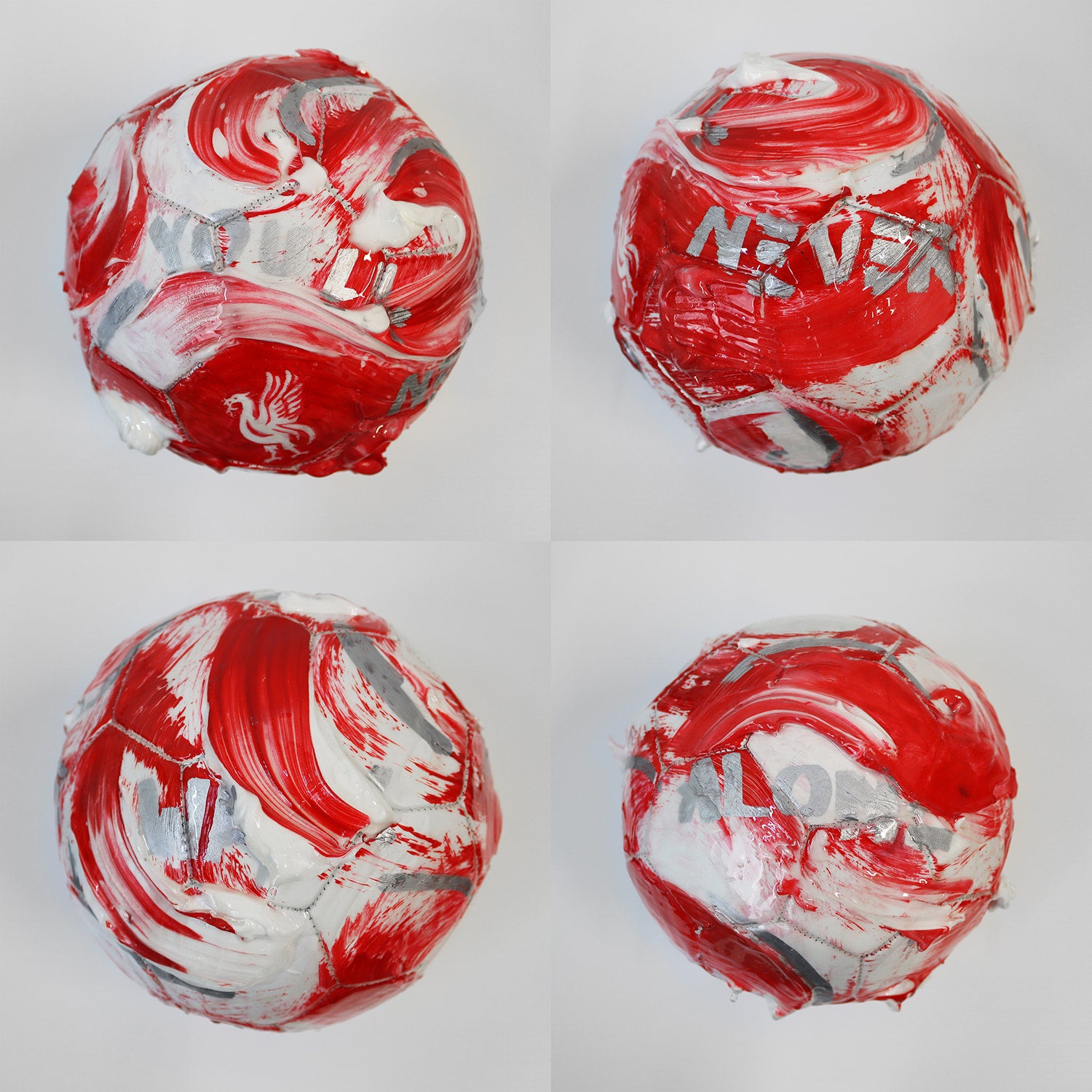 Custom painted Liverpool FC football by UK sports artist David Roman. You'll never walk alone