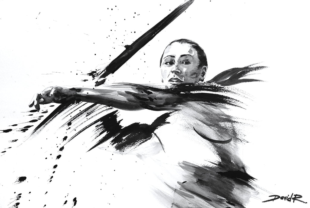 david roman art painting of dame jessica ennis-hill olympic sports athlete