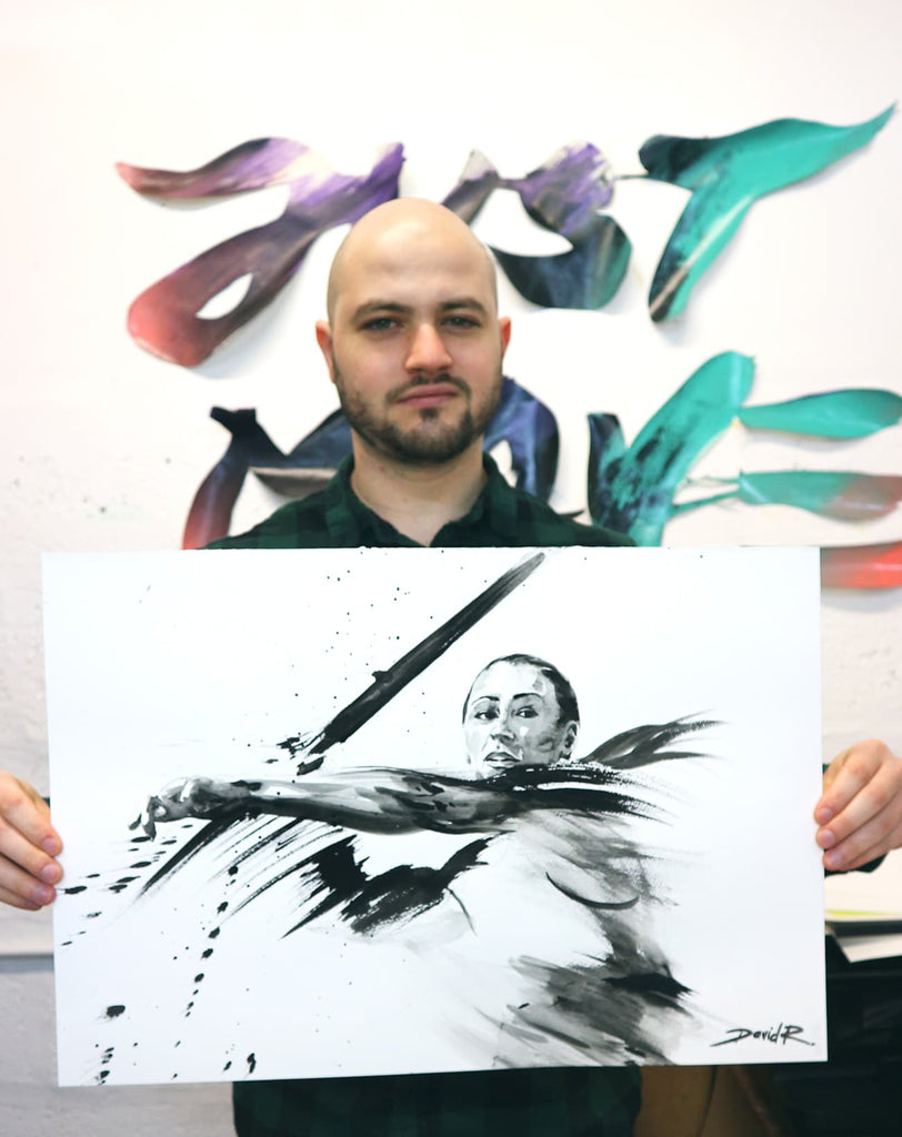 david roman art painting of dame jessica ennis-hill olympic sports athlete artist in studio