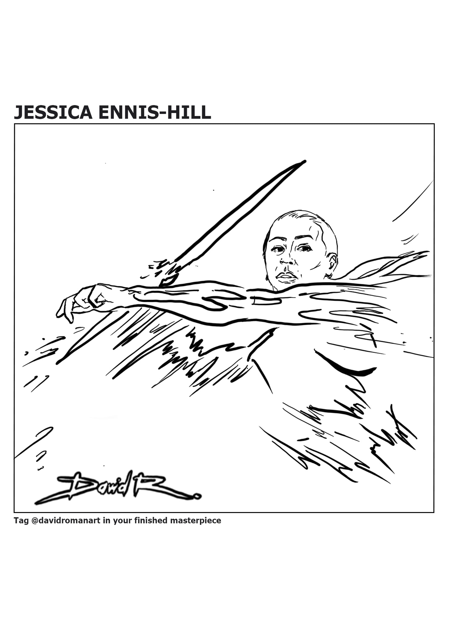 sports painting of jess ennis by artist david roman art