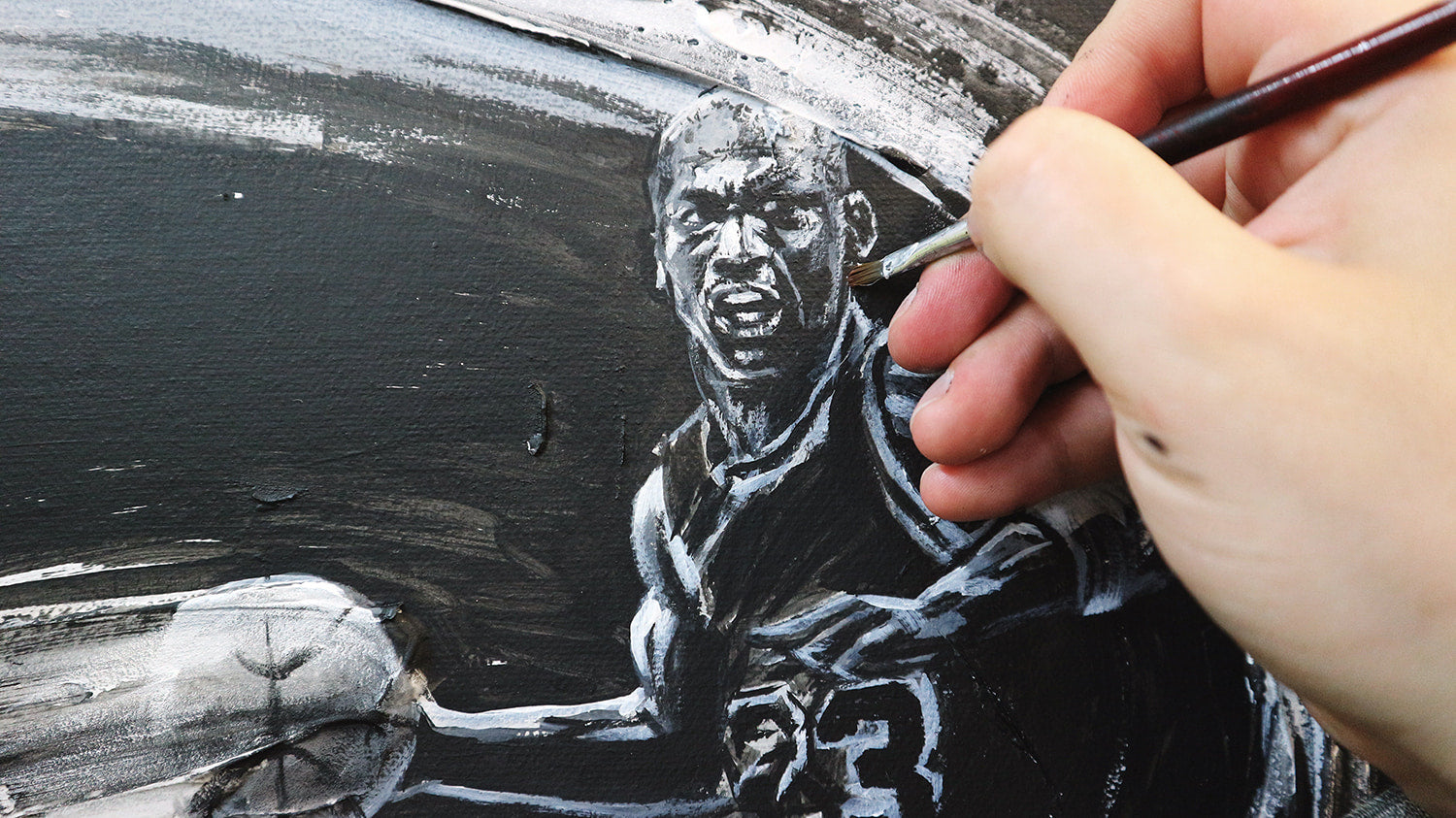 painting of michael jordan from the last dance chicago bulls espn documentary on netflix, by sports artist david roman art