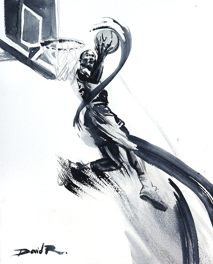 michael jordan paintings by sports and movement artist David Roman inspired by the Netflix series the last dance