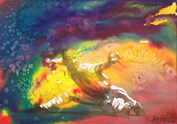 Vibrant watercolor painting inspired by shaolin monk tai chi. Part of Just Move Project by artist David Roman