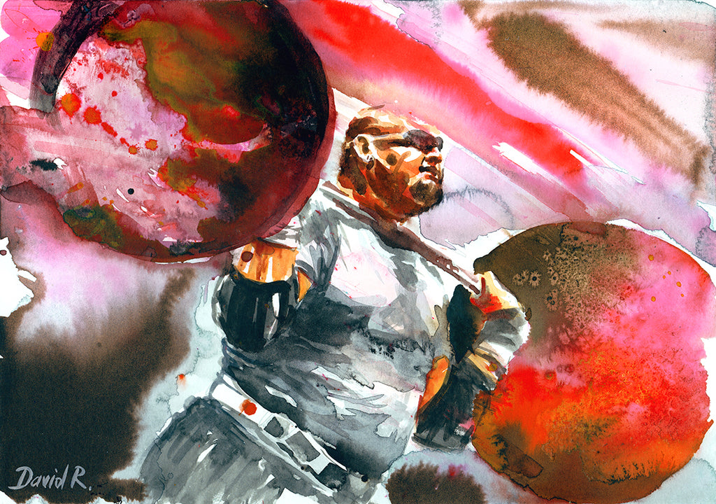 Vibrant watercolor painting inspired by strongman brian shaw. Part of Just Move Project by artist David Roman