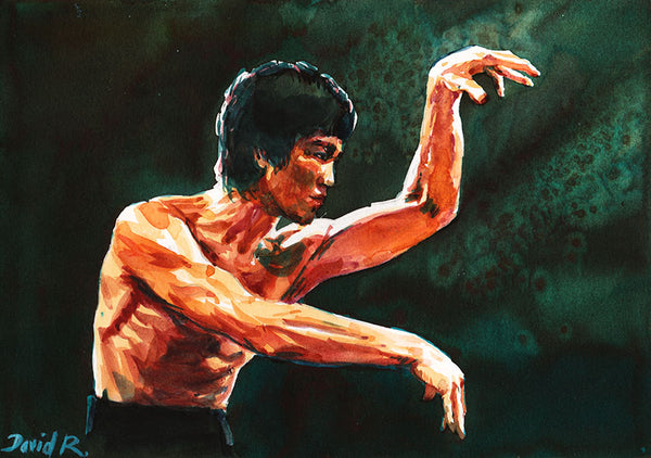 Vibrant watercolor painting inspired by ufc mma fighter karate bruce lee fighting. Part of Just Move Project by artist David Roman