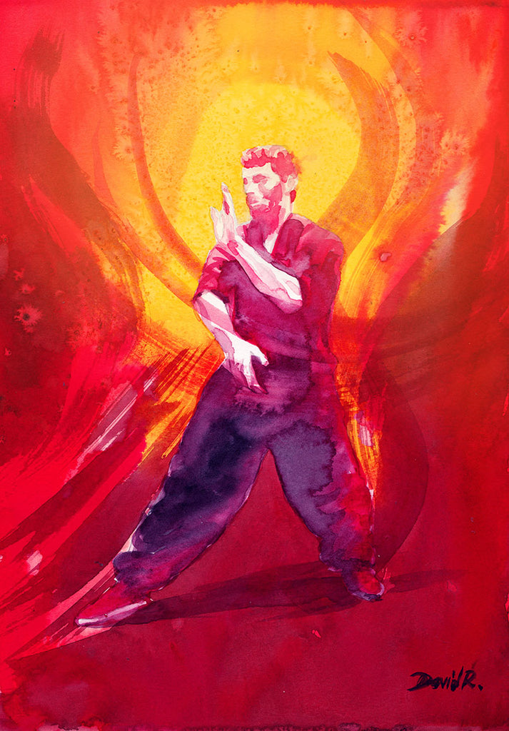 Vibrant watercolor painting inspired by tai chi energy movement. Part of Just Move Project by artist David Roman