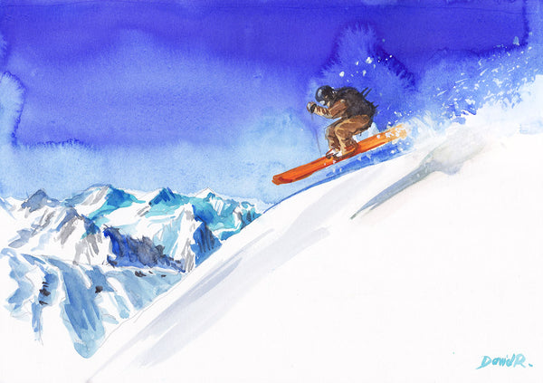 Vibrant watercolor painting inspired by skiing slope in winter. Part of Just Move Project by artist David Roman