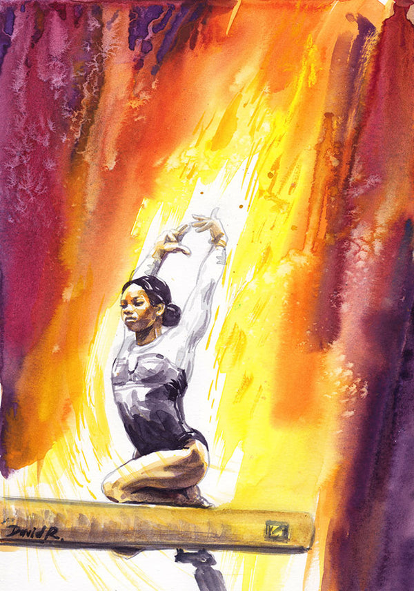 Vibrant watercolor painting inspired by olympic gymnast gabby douglas. Part of Just Move Project by artist David Roman