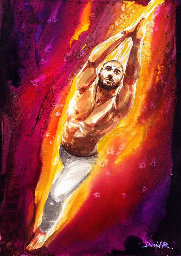 Vibrant watercolor painting inspired by yoga namaste pose. Part of Just Move Project by artist David Roman