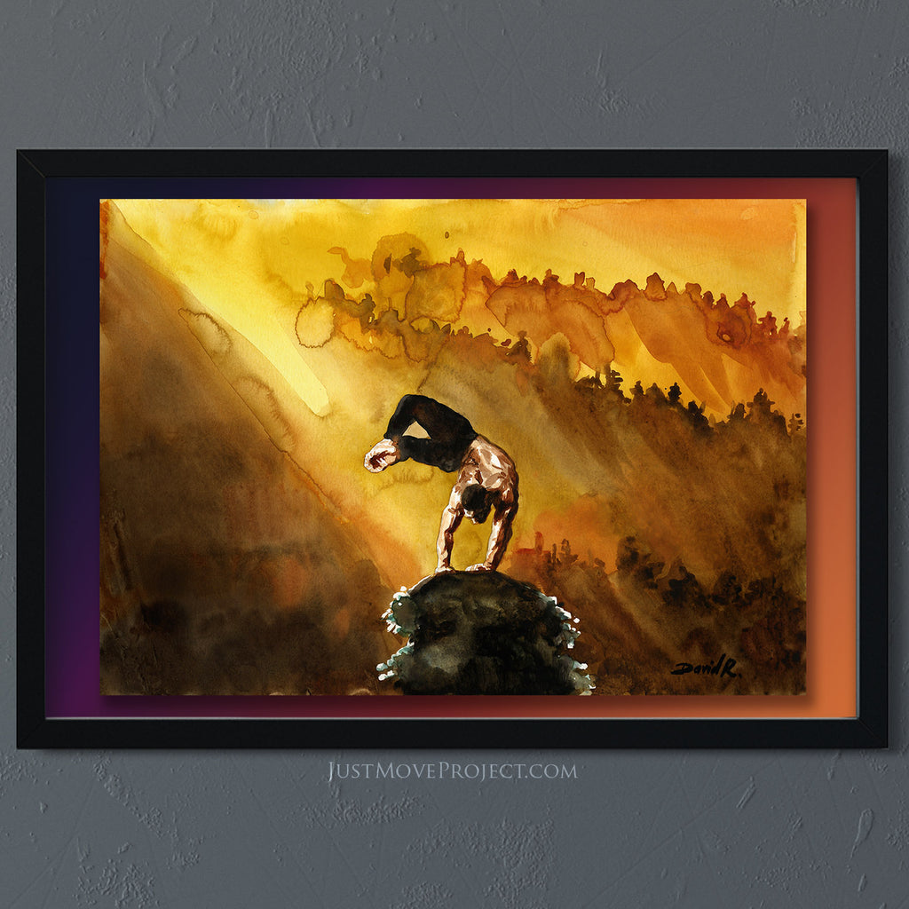 Original Painting #353 of JUST MOVE | Handstand in golden landscape