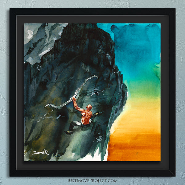 Original Painting #381 of JUST MOVE | Rock Climbing