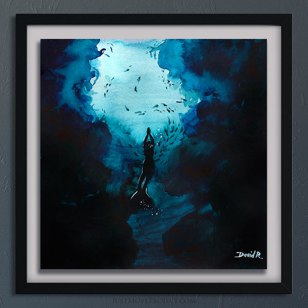 Original Painting #382 of JUST MOVE | Kiki Bosh Ice Freediver