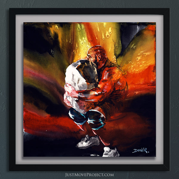 Original Painting #388 of JUST MOVE | Strongman Brian Shaw Lifting Stone