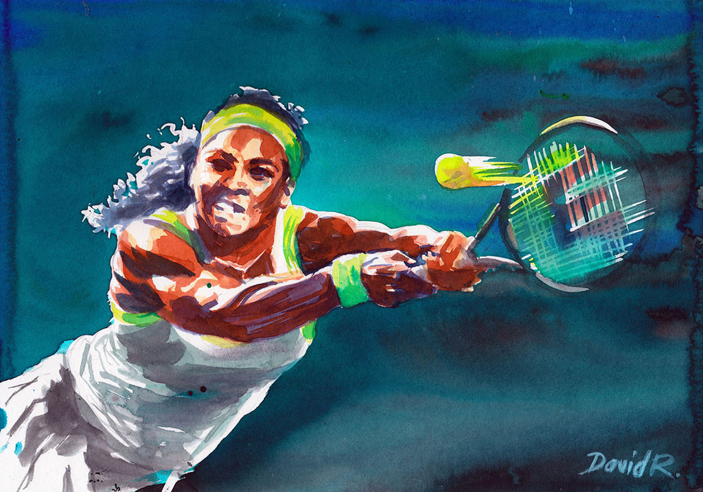 Vibrant watercolor painting inspired by serena williams wimbledon tennis. Part of Just Move Project by artist David Roman