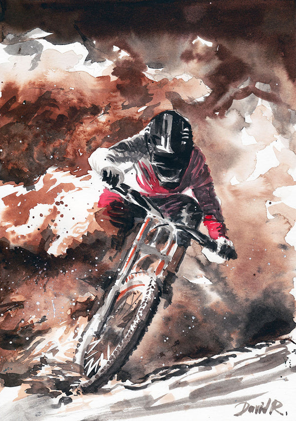 Vibrant watercolor painting inspired by dirt bike high adrenaline painting. Part of Just Move Project by artist David Roman