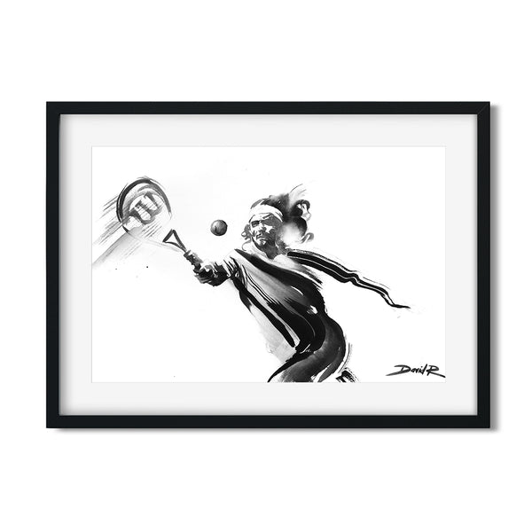 Original painting of tennis player Stefanos Tsitsipas created by Sports and Movement Artist David Roman Art