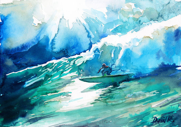 Vibrant watercolor painting inspired by Laird Hamilton Big Wave surfing. Part of Just Move Project by artist David Roman