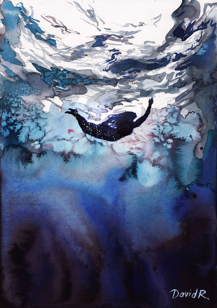 Vibrant watercolor painting inspired by freediving woman in the ocean. Part of Just Move Project by artist David Roman