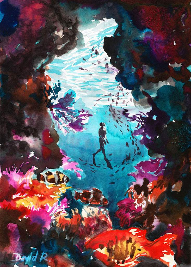 Vibrant watercolor painting inspired by coral reef freediving explorer. Part of Just Move Project by artist David Roman