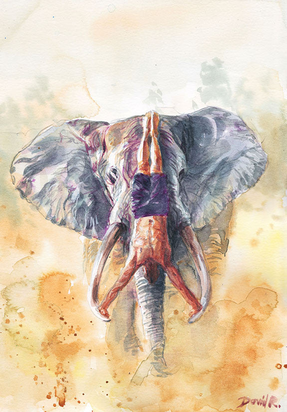 Vibrant watercolor painting inspired by friendship between man and elephant doing a handstand on elephant. Part of Just Move Project by artist David Roman