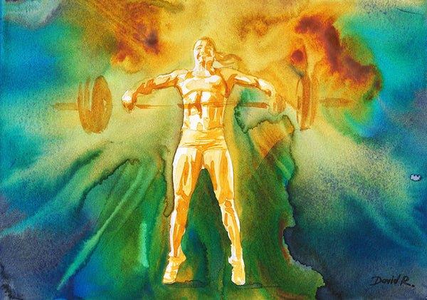 Vibrant watercolor painting inspired by crossfit athlete Annie Thorisdottir. Part of Just Move Project by artist David Roman