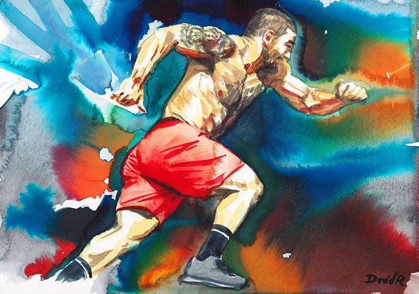 Vibrant watercolor painting inspired by crossfit champion mat fraser. Part of Just Move Project by artist David Roman