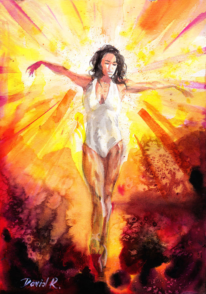 Vibrant watercolor painting inspired by ballerina Misty Copeland. Part of Just Move Project by artist David Roman