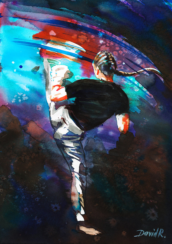 Vibrant watercolor painting inspired by ufc mma karate fighter kick. Part of Just Move Project by artist David Roman