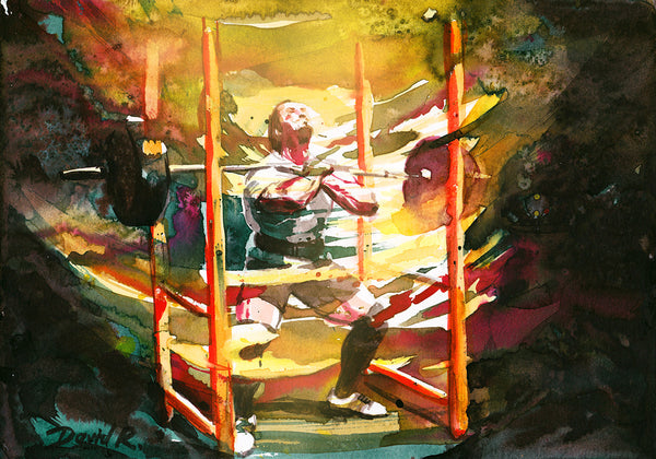 Vibrant watercolor painting inspired by powerlifter dan green. Part of Just Move Project by artist David Roman