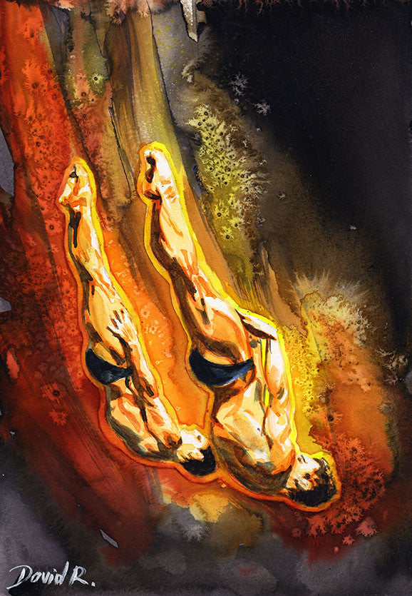 Vibrant watercolor painting inspired by olympic divers tom daley. Part of Just Move Project by artist David Roman