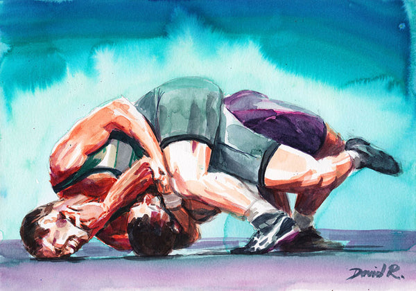 Vibrant watercolor painting inspired by ufc mma fighter karate wrestling grappling. Part of Just Move Project by artist David Roman