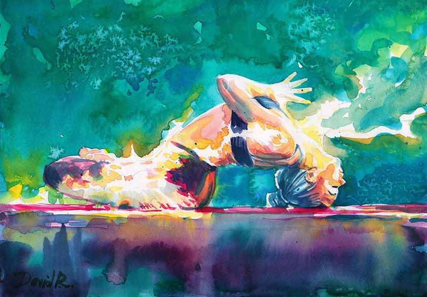 Vibrant watercolor painting inspired by yogi in flow namaste. Part of Just Move Project by artist David Roman