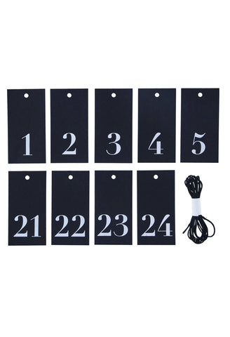 HOUSE DOCTOR - BLACK NUMBERED CARD GIFT TAGS 1-24 -  - gift tags - THE HOUSE JAR