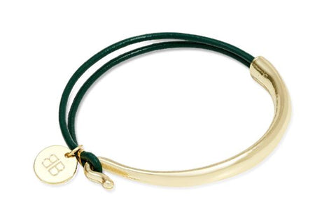 ANDELLE GREEN AND GOLD LEATHER BANGLE