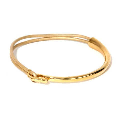 CHER METALLIC GOLD LEATHER AND GOLD METAL BANGLE