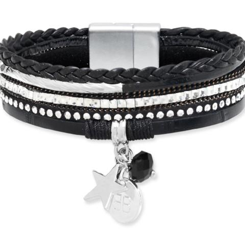LEMMING BLACK MIX MAGNET CLASP BRACELET WITH CHARMS
