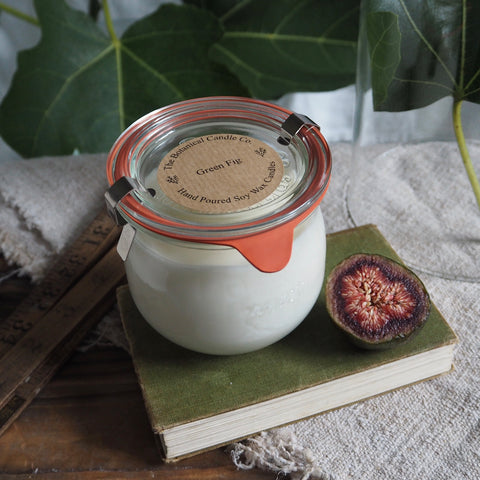 THE BOTANICAL CANDLE CO. LARGE 370ML WECK GLASS JAR CANDLE - GREEN FIG