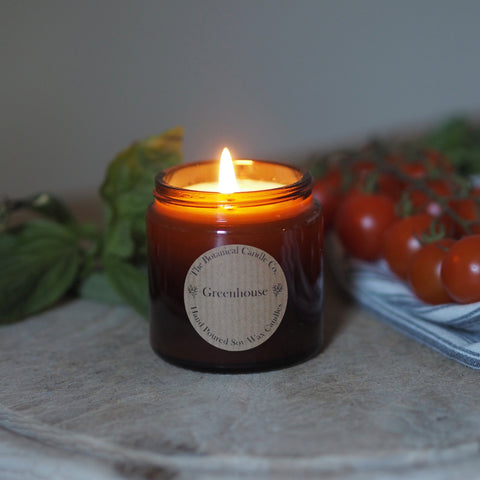 THE BOTANICAL CANDLE CO. SMALL 120ML AMBER GLASS JAR CANDLE - GREENHOUSE