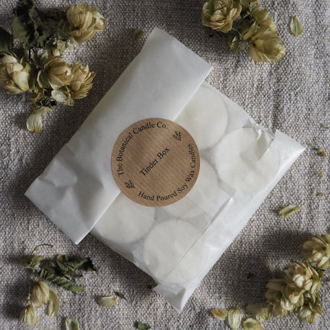 THE BOTANICAL CANDLE CO. PACK OF SIX TEA LIGHT CANDLES - TINDER BOX
