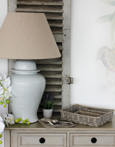 BIGGIE BEST - PALE GREY WHITE OVERSIZED JAR LAMP AND SHADE SET -  - LAMP - THE HOUSE JAR - 1