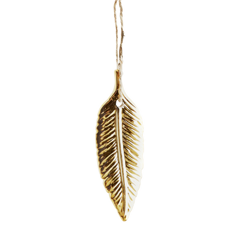 HANGING GOLD PORCELAIN FEATHER DECORATION