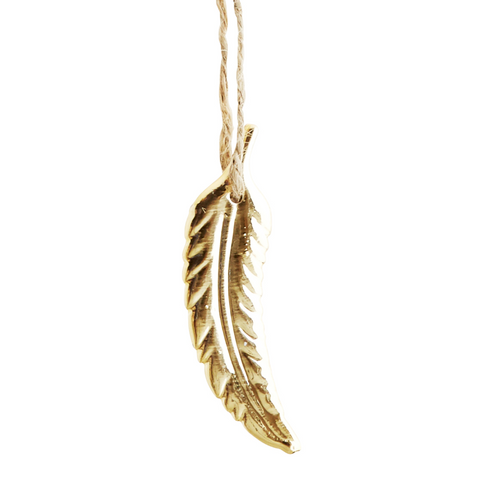 HANGING CURVED GOLD PORCELAIN FEATHER DECORATION