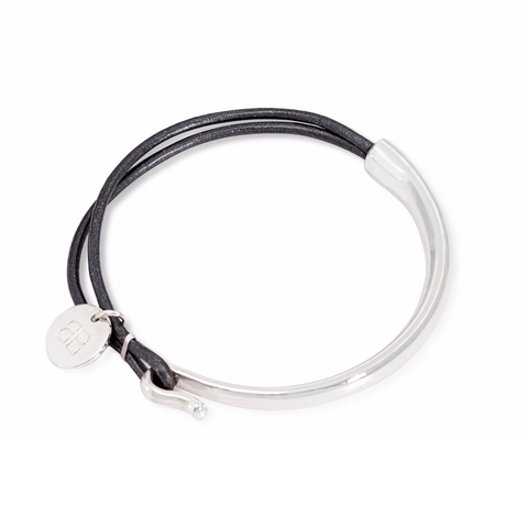 MODER SILVER AND DARK GREY LEATHER BANGLE
