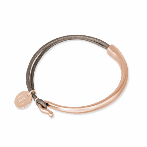 ERDRE DARK MOLE LEATHER AND ROSE GOLD BANGLE
