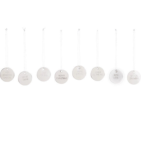 HOUSE DOCTOR - SET OF 8 SILVER METAL DISC CHRISTMAS TAGS -  - Christmas Decorations - THE HOUSE JAR