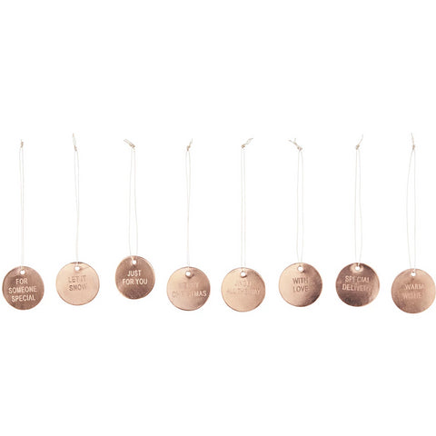 HOUSE DOCTOR - SET OF 8 COPPER METAL DISC CHRISTMAS TAGS -  - Christmas Decorations - THE HOUSE JAR