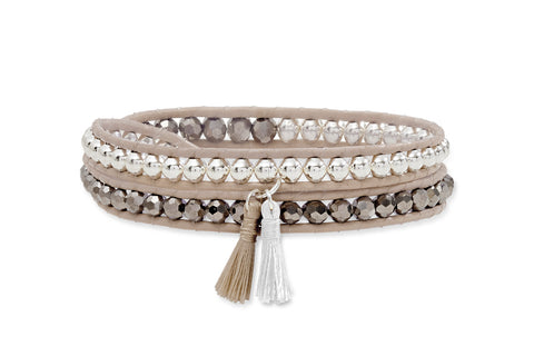 TAUPE TWIST LEATHER 2 WRAP TASSEL BRACELET